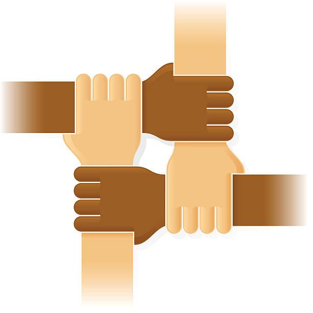 Four joint hands vector art illustration