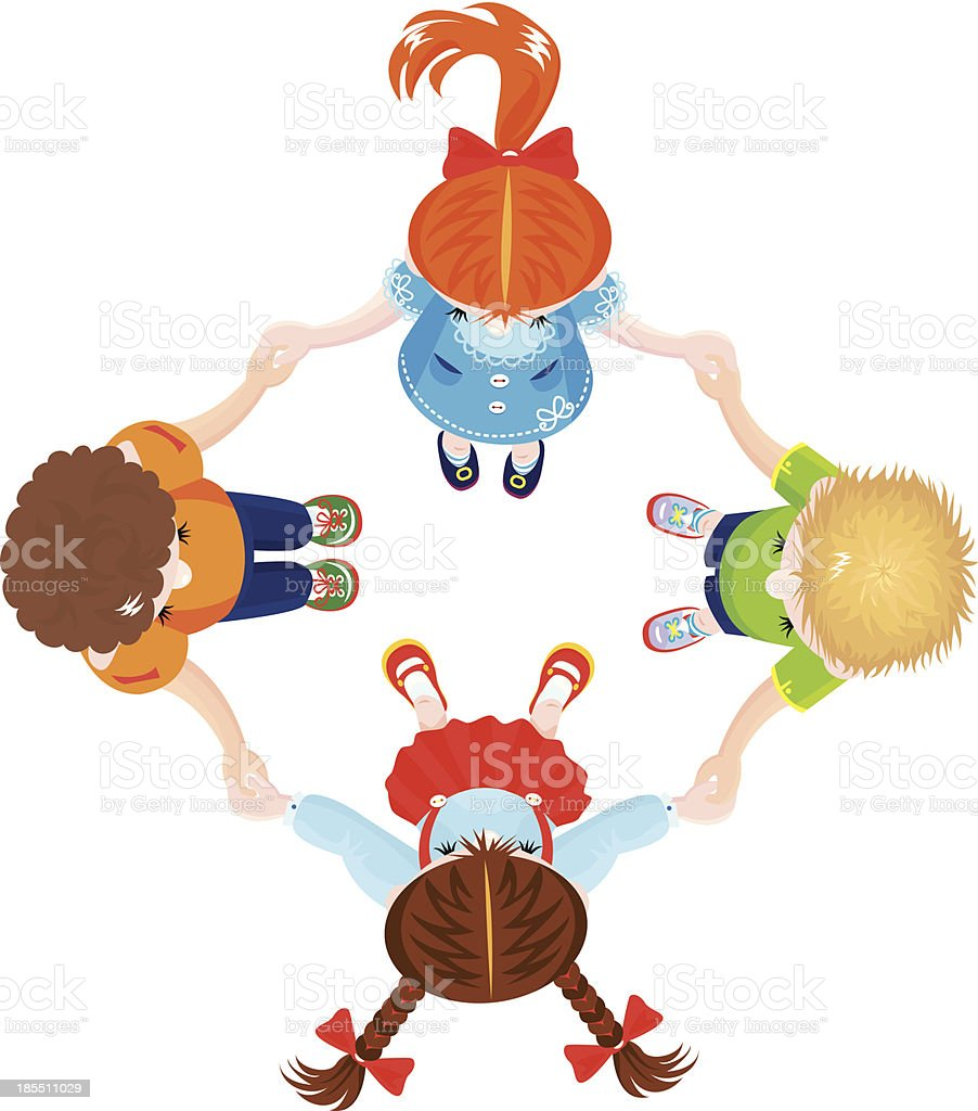 Four Kids Joining Hands to Form a Circle vector art illustration
