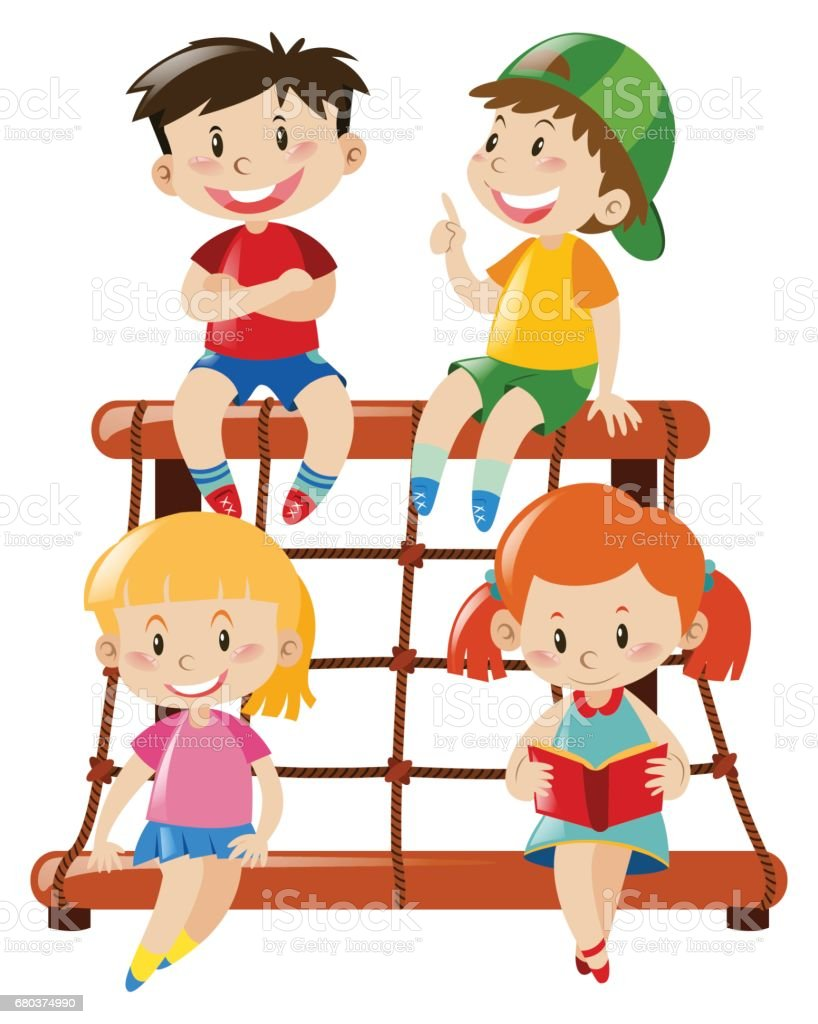 Four kids on rope climbing station royalty-free four kids on rope climbing station stock vector art & more images of art