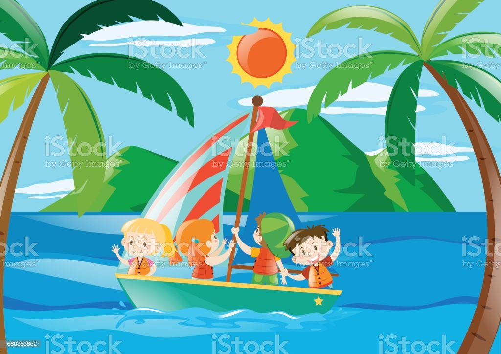 Four kids on sailboat at daytime royalty-free four kids on sailboat at daytime stock vector art & more images of activity