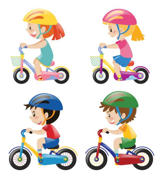 Four Kids Riding Bicycle On White Background Vector Art Illustration