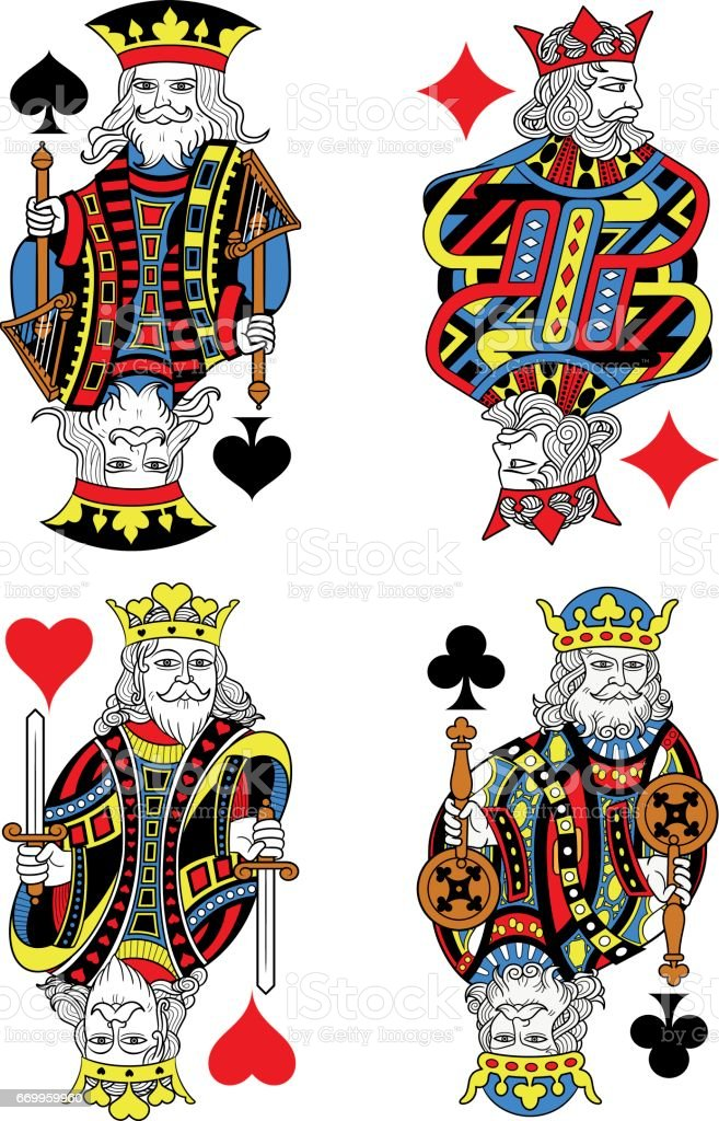 Four Kings French Inspiration Without Cards vector art illustration