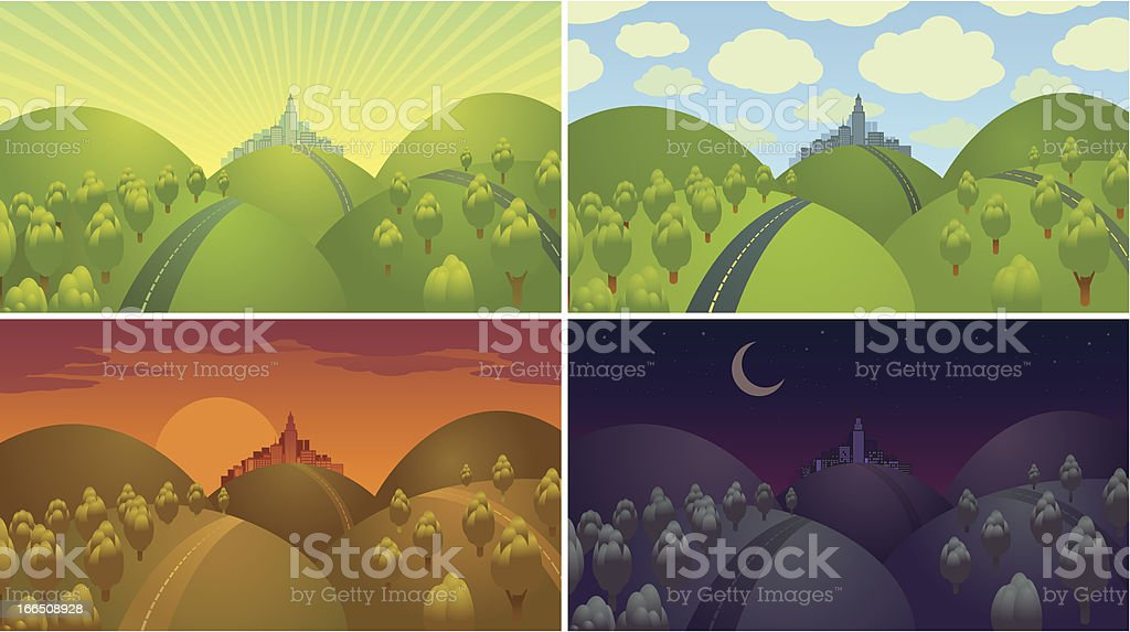 Four landscapes showing day cycle. vector art illustration