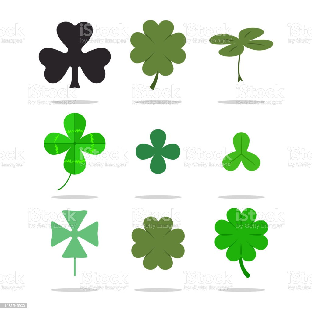 Four Leaf Clover And Shamrock Vector Set St Patricks Day Icons