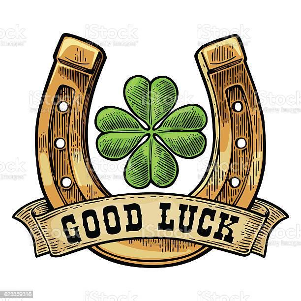 Four leaf clover horseshoe ribbon with text good luck vector id623359316?b=1&k=6&m=623359316&s=612x612&h=pfjjjgihmutffd nnby htcbwfb1jm7ns9liwjdlpbs=