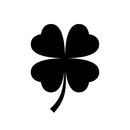 Four leaf clover icon. Black, minimalist icon isolated on white background.