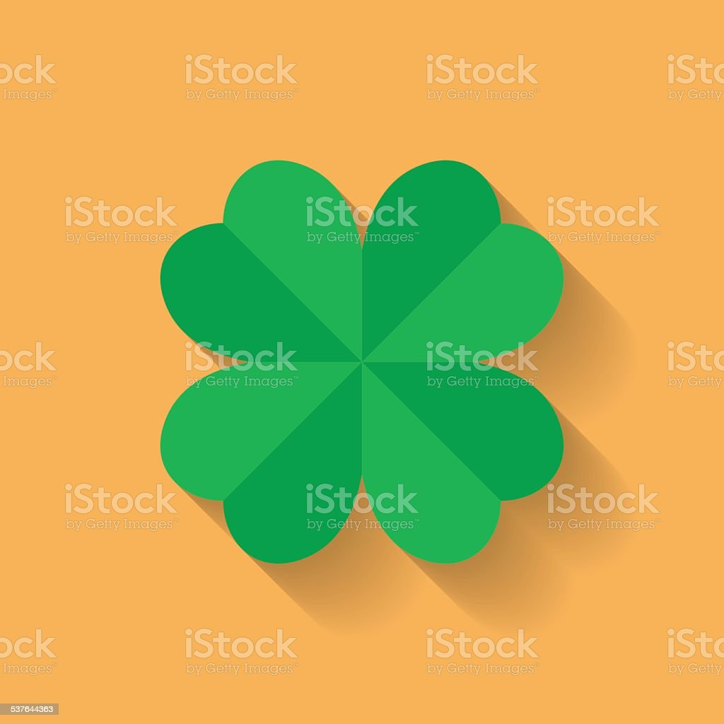 Four leaf clover icon. Flat style vector art illustration