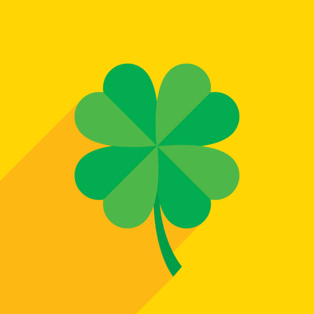 Four Leaf Clover Icon Flat Vector illustration of a green four leaf clover against a yellow background in flat style. good luck charm stock illustrations