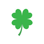Four-leaf clover simple icon. Vector flat illustration isolated on white background