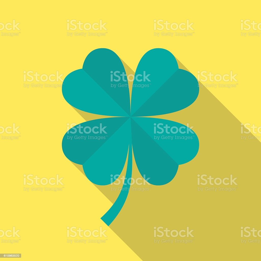 four leaf clover icon with long shadow お祝いのベクターアート素材