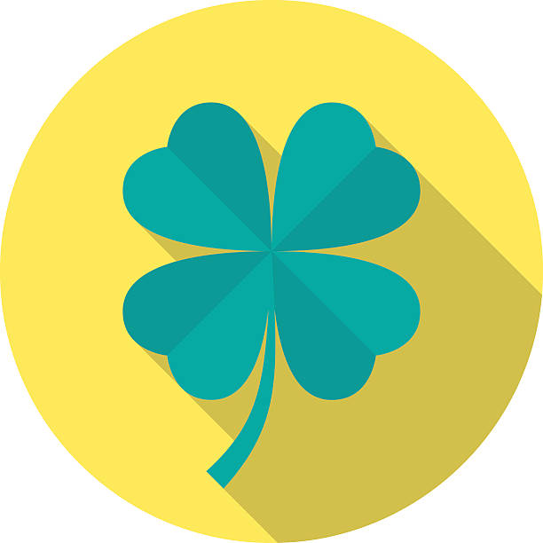 Four leaf clover icon with long shadow. Four leaf clover icon with long shadow. Flat design style. Round icon. Clover silhouette. Simple circle icon. Modern flat icon in stylish colors. Web site page and mobile app design vector element. good luck charm stock illustrations