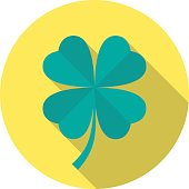 Four leaf clover icon with long shadow.