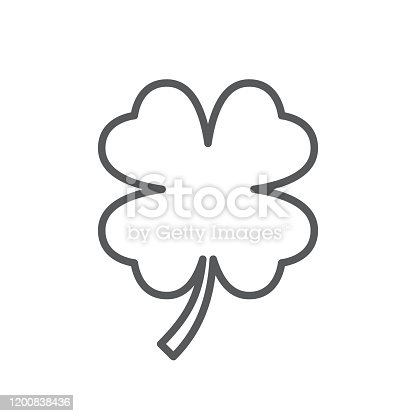 Four leaf clover line icon. Minimalist black icon isolated on white background. Clover simple silhouette. Web site page and mobile app design vector element.