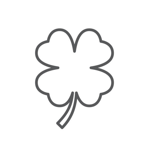 Four leaf clover line icon. Minimalist black icon isolated on white background. Clover simple silhouette. Web site page and mobile app design vector element. Four leaf clover line icon. Minimalist black icon isolated on white background. Clover simple silhouette. Web site page and mobile app design vector element. shamrock stock illustrations
