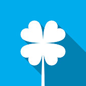 Four leaf shamrock with long shadow on blue background