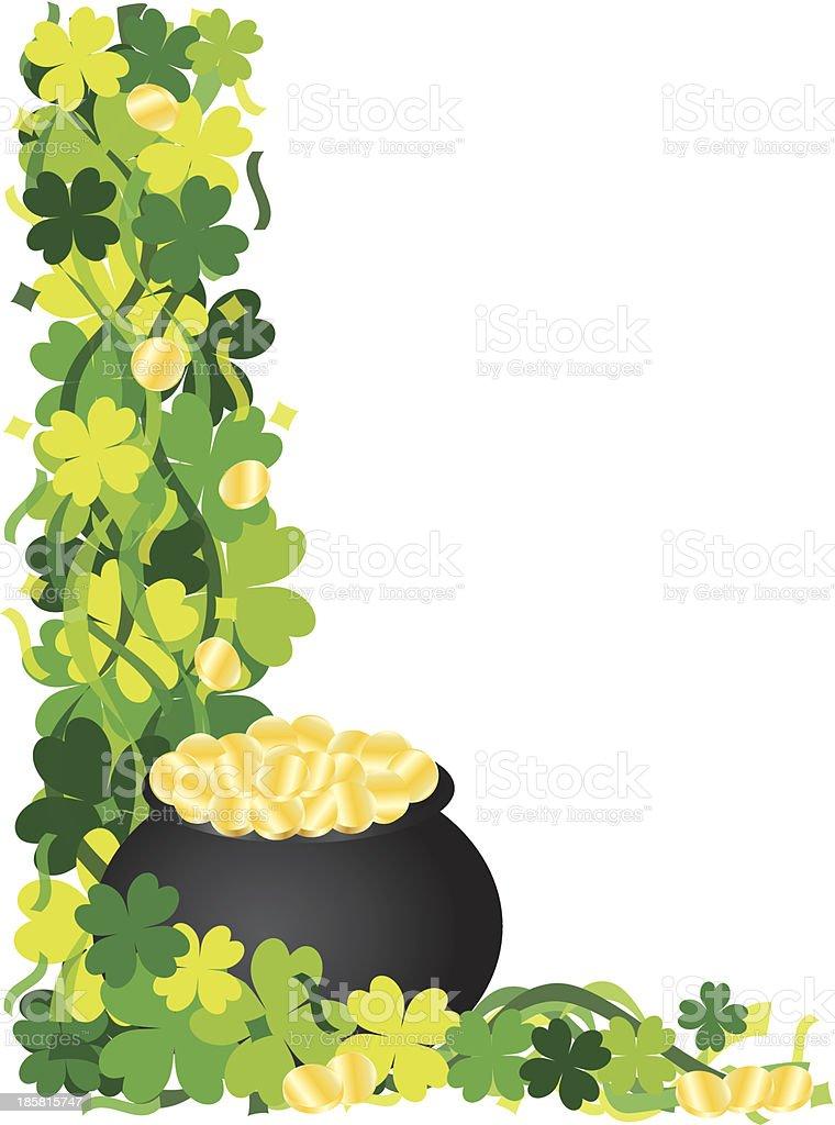 Four Leaf Clover Pot of Gold Border Vector Illustration royalty-free stock vector art