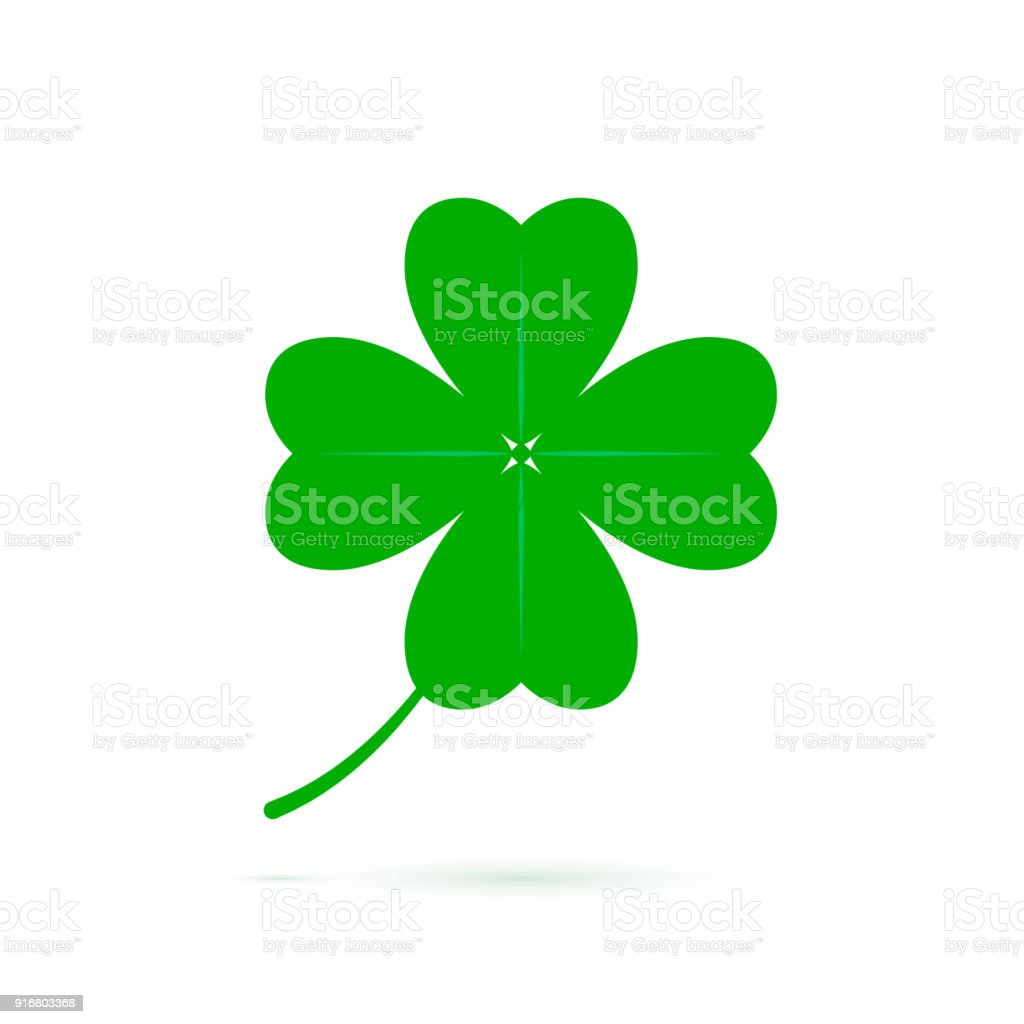 Four Leaf Clover Symbol Of Luck Green Clover Icon Isolated On White