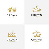 Set of four crown line icons. Royalty, luxury abstract geometric symbol.