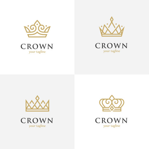 Four linear crown icons. Set of four crown line icons. Royalty, luxury abstract geometric symbol. crown headwear stock illustrations
