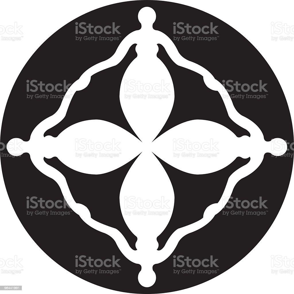 Quatro mulheres ícone vinculado - Vetor de Adulto royalty-free