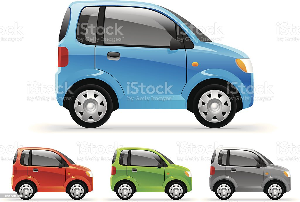 Four little cars featured in different colors vector art illustration