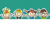 Four happy little kids, girls and boys on green background. Color conceptual vector illustration.