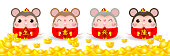 Four little rats holding a signs with Chinese gold, Happy new year 2020 year of the rat zodiac. Cartoon vector illustration isolated on white background.