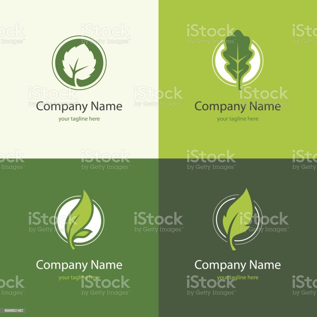 Four logo with leaves in a shape of circle