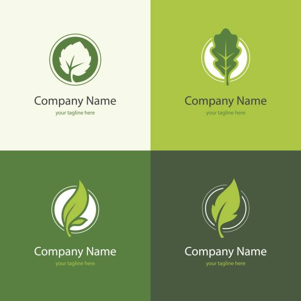 Four logo with leaves in a shape of circle Four icons with leaves in a shape of circle. Natural, floral, eco, bio or organic product design concept. Green leaf abstract symbol. oak leaf stock illustrations