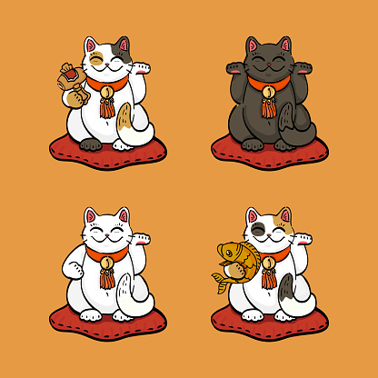 four lucky cats with lucky attributes