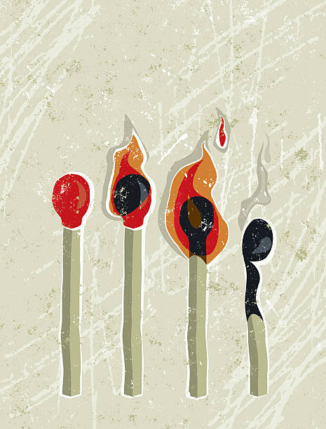 Four Matches, Lit, Unlit and Burned Burned Out! A stylized vector cartoon of 4 matches at various stages, reminiscent of an old screen print poster and suggesting time passing, consequences, risk, danger, flame, burned out, flash in the pan or fragility. Matches, flames, paper texture, and background are on different layers for easy editing. Please note: clipping paths have been used, an eps version is included without the path. mental burnout stock illustrations
