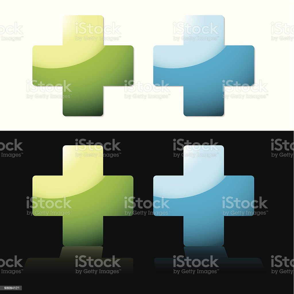 Four medical crosses, 2 on white & 2 on black background royalty-free stock vector art