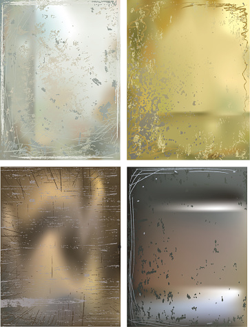 Four Metallic Backgrounds with grunge effects in gold,bronze,copper