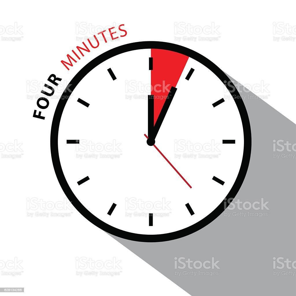 Four Minutes Clock Icon vector art illustration