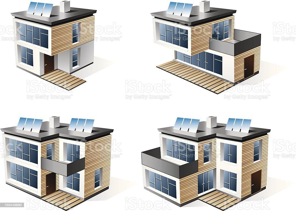 Four modern family houses. royalty-free stock vector art