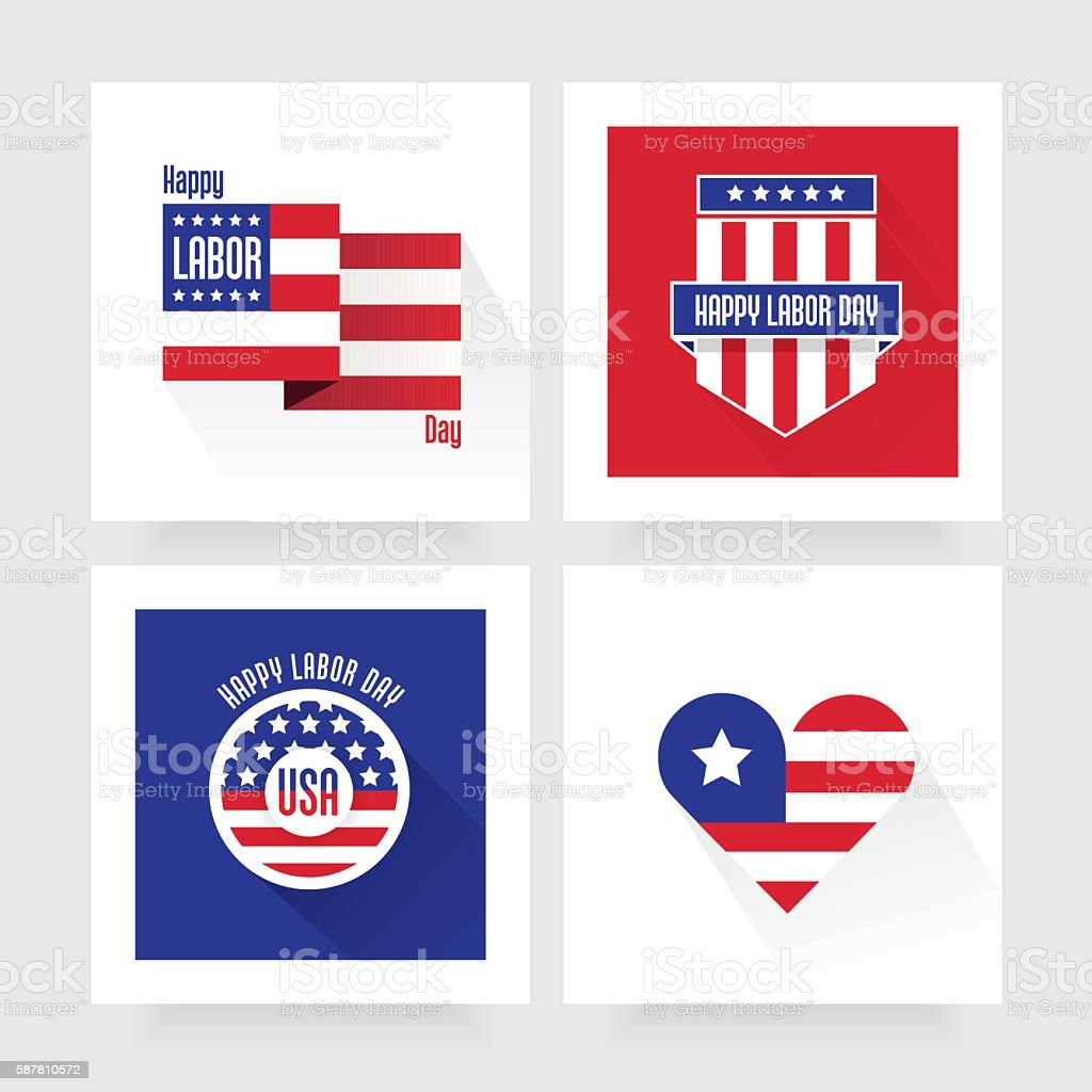 Four modern Happy Labor Day badges vector art illustration