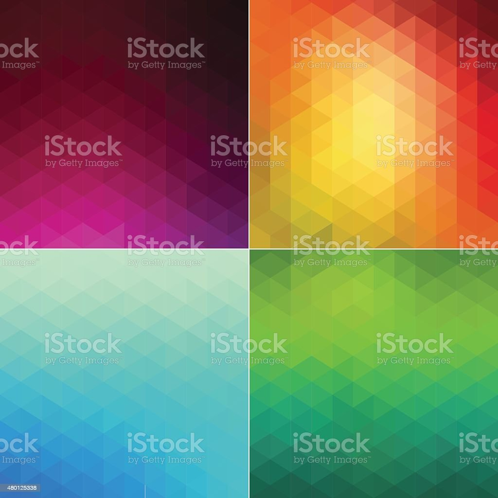 Four mosaic style backgrounds vector art illustration