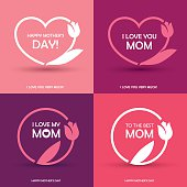 Set of four Mothers Day greeting card, banner or poster designs, round and heart shaped frames with abstract tulip flower in pink colors