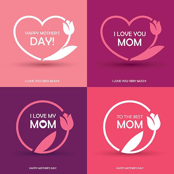 ilustraciones, imágenes clip art, dibujos animados e iconos de stock de cuatro de las tarjetas de felicitación día de la madre - madre