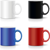 Four mugs of various colors. Coffee cups coolection vector.