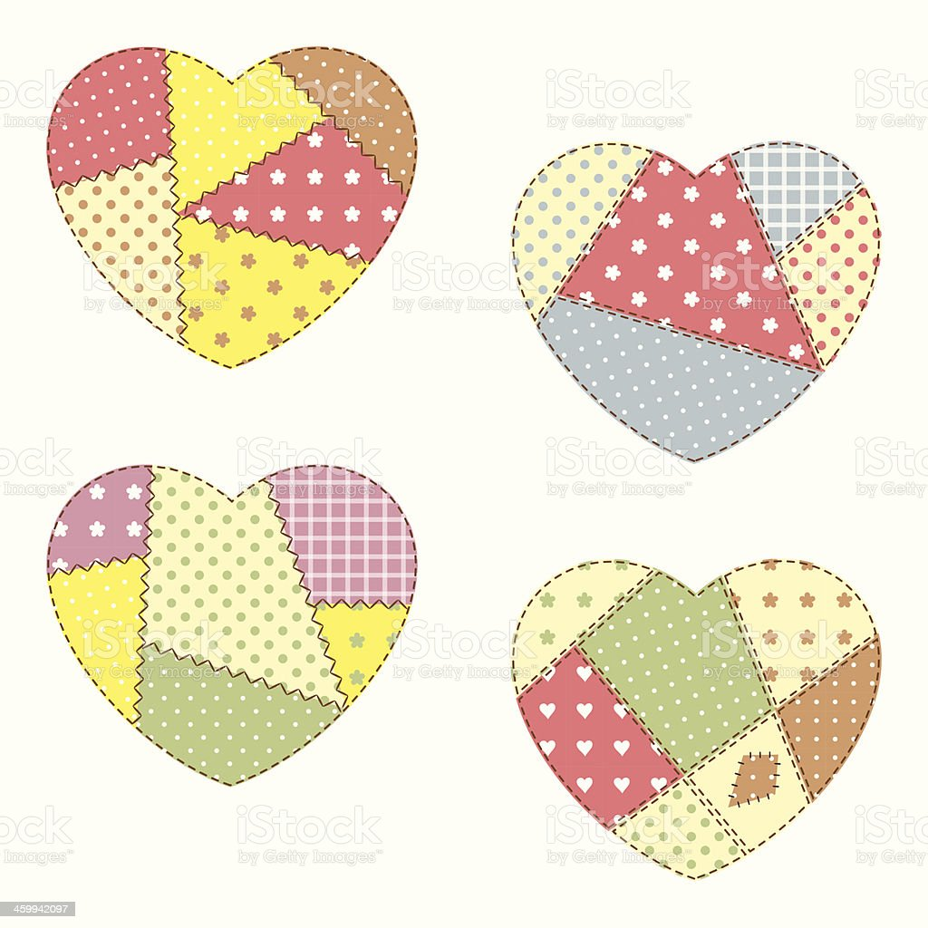 Four multicolored patchwork hearts isolated on white vector art illustration