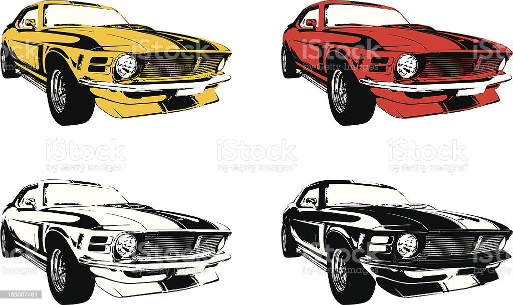 four muscle cars vector art illustration