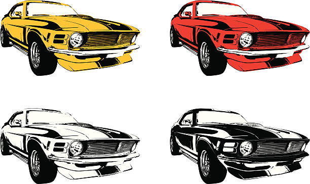 four muscle cars four highly detailed color versions of 70's muscle cars. sports car stock illustrations