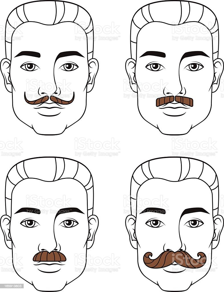 Four Mustache Styles vector art illustration