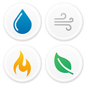 Four natural icons and symbols - water, earth, nature, wind and fire. Flame and leaf and windy and water droplet symbols.