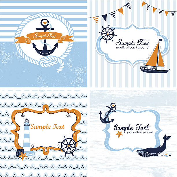 Four nautical themed cards in shades of blue and orange vector art illustration
