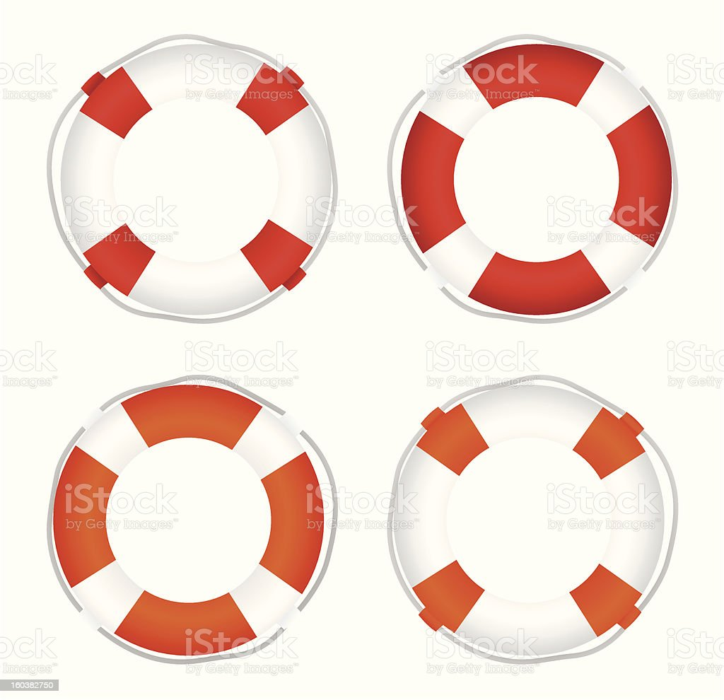 Four naval life preservers in different color styles royalty-free stock vector art