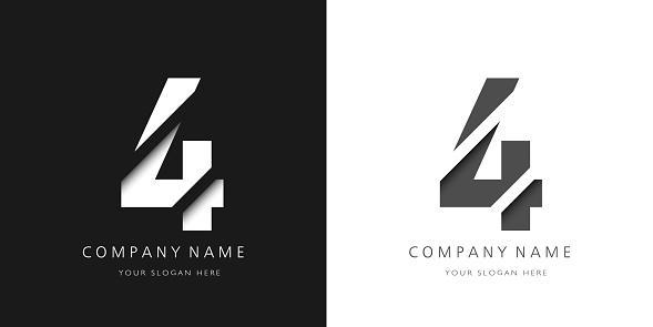 four number modern logo broken design