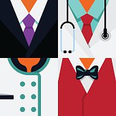 "Vector Flat Icons Design 4 Occupations ""Businessman, Doctor, Chef, Waiter"""