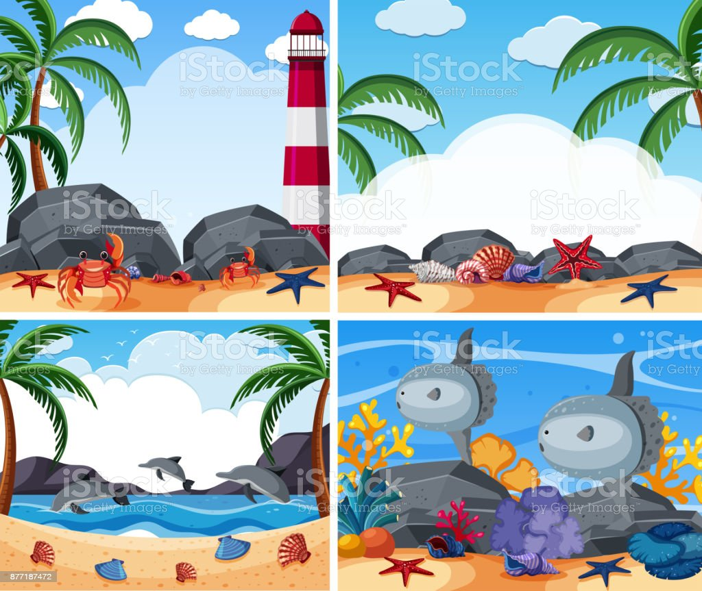 Four ocean scenes with animals and beach vector art illustration
